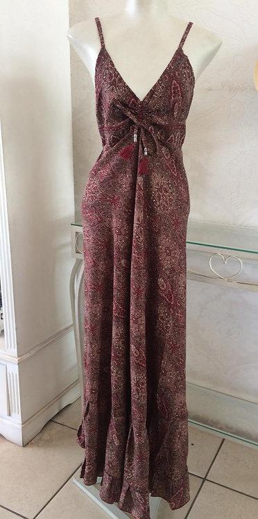 Vestido longo com estampa indiana (Tamanho único)