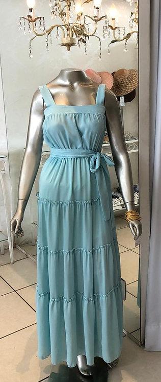Vestido longo liso de alça (P)