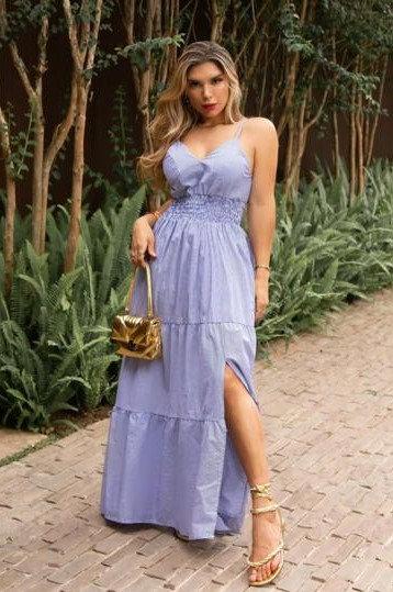 Vestido longo de alcinha listrado (M)