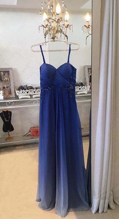 Vestido Azul Saia Degradê (M)