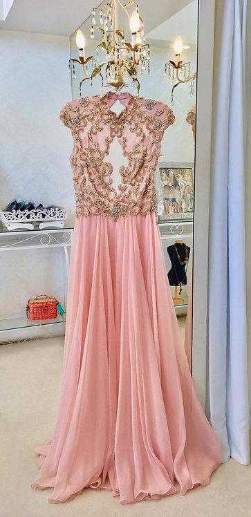 Vestido Rosa Bordado com Decote (40)