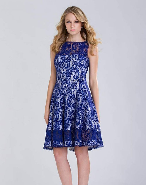 Vestido Curto com renda azul  (P)