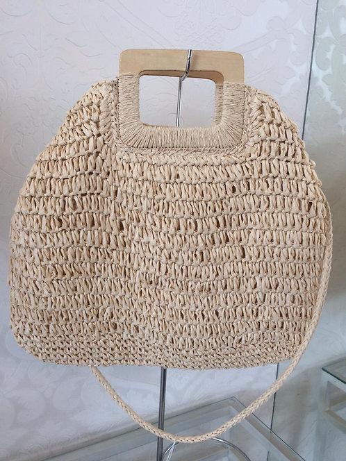 Bolsa de palha com alça quadrada