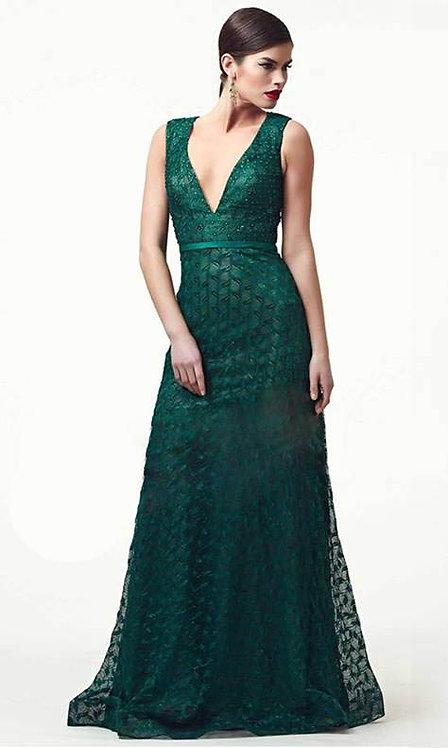 Vestido longo renda esmeralda (M)