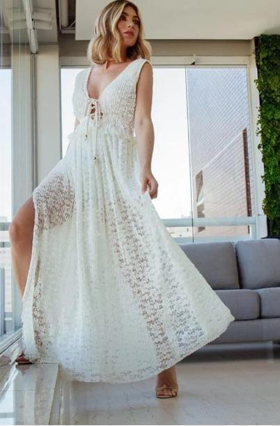 Vestido longo renda (M)