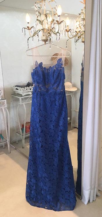 Vestido Azul com Renda Aplicada e Transparência (M)