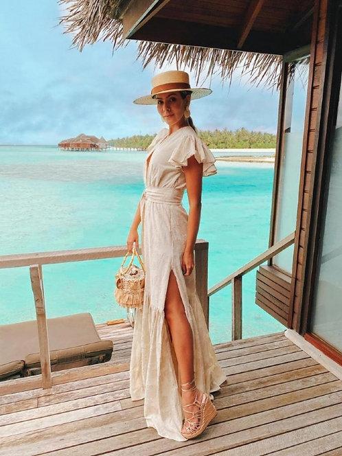 Vestido linho bordados+faixa (G)