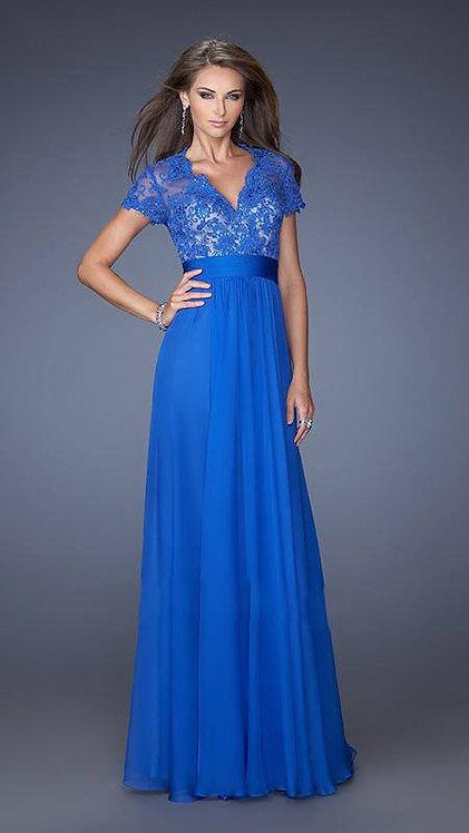 Vestido longo azul top renda bordada (G)