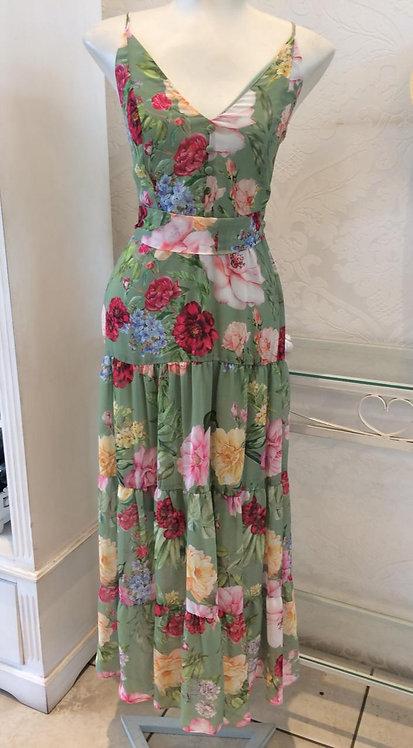 Vestido floral com faixa (P)