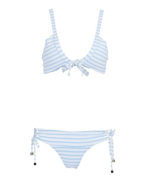 Biquini jacquard listrado azul (M)
