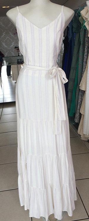 Vestido branco longo com listras  (M)
