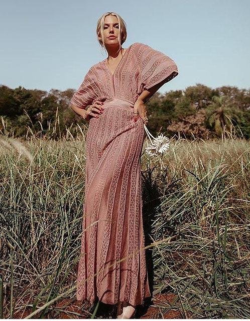 Vestido Kimono rendado rayon P