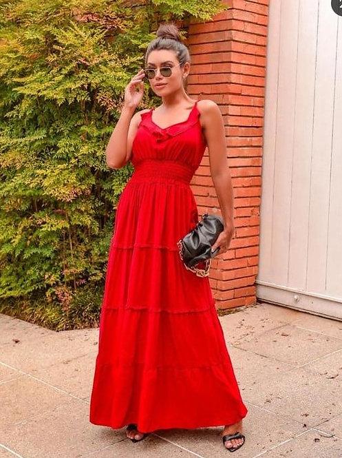 Vestido longo vermelho de alcinha e babados (G)
