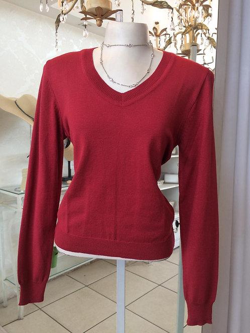 Blusa de tricô modal básica vinho (M)
