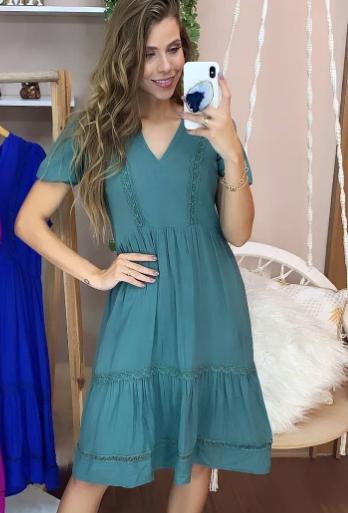 Vestido detalhe renda verde (M)