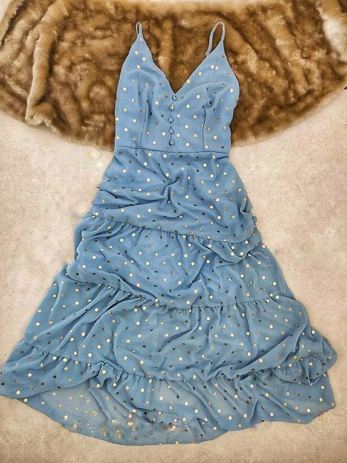 Vestido Azul Poá Dourado