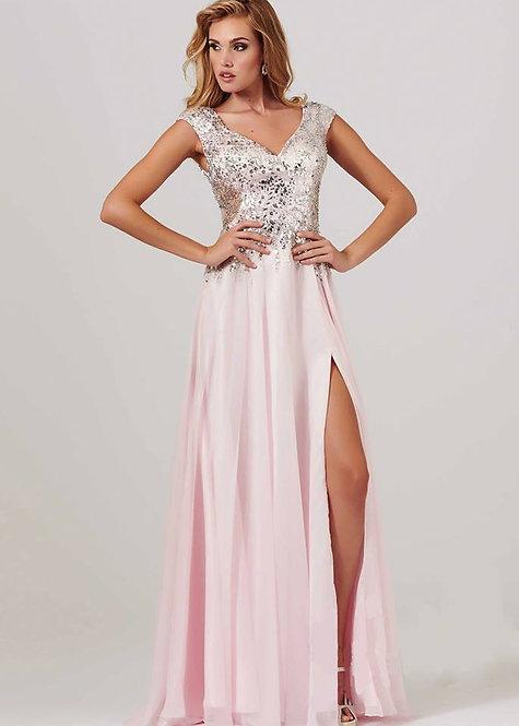 Vestido rosê longo top bordado (P,M)