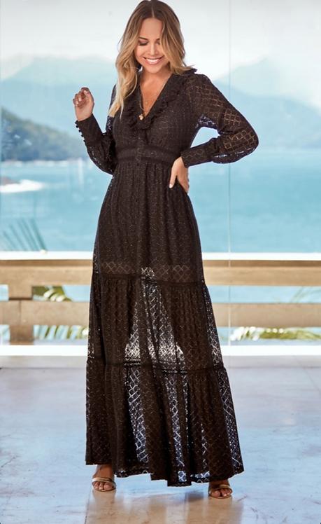 Vestido longo de renda preto (P)