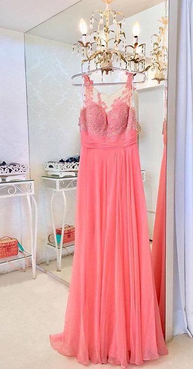 Vestido longo coral tule bordado (M)