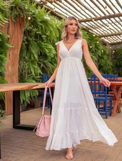 Vestido branco com bolinhas azuis (M)