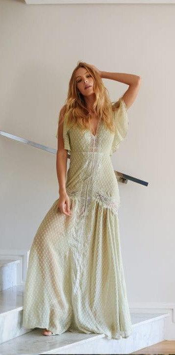 Vestido longo crepe rendas G