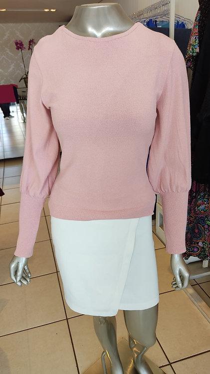 Blusa tricô rosa botão no punho (M)