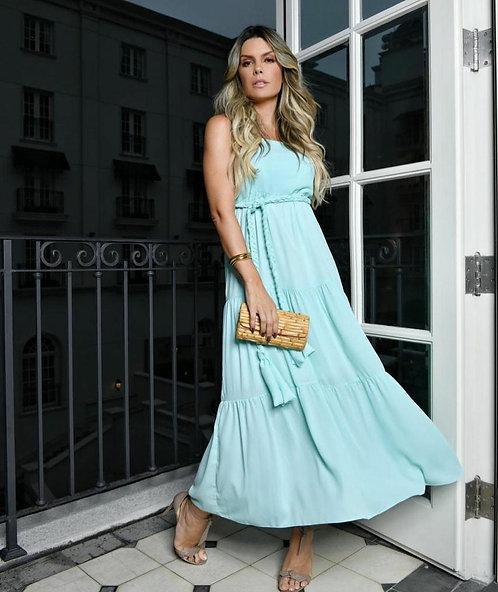 Vestido Ciano Liso Faixa Trança