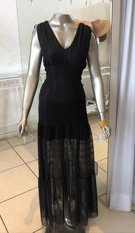Vestido de renda com transparência na saia (G)