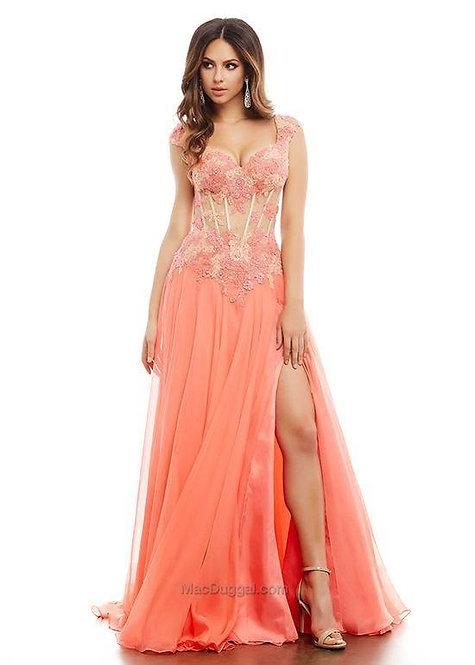 Vestido Longo coral com renda bordada (M)