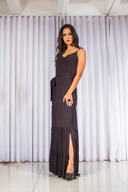 Vestido longo de alcinha preto (P)