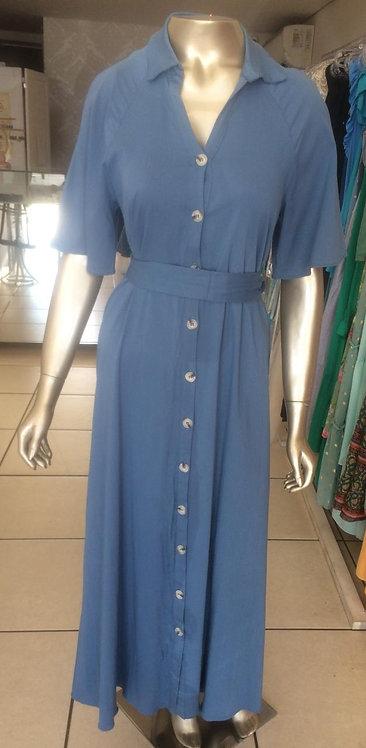 Vestido longo com maguinha e botões (M)