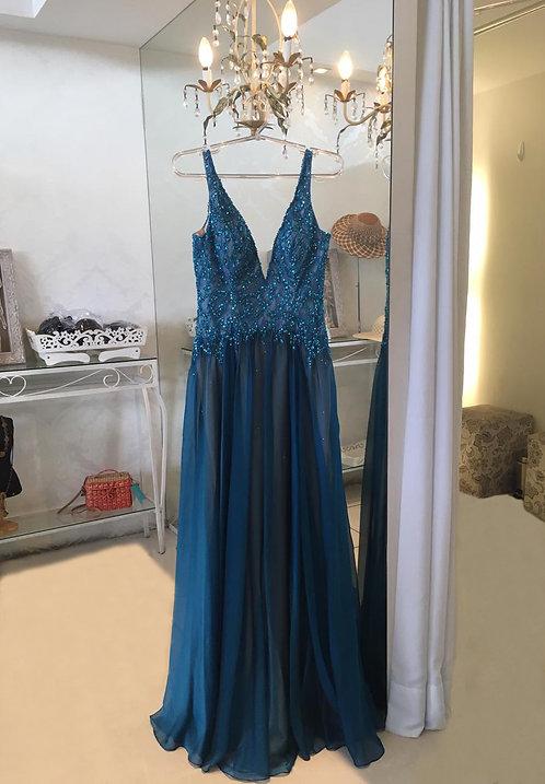Vestido Azul Bordado com Decote V (M)