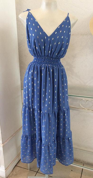 Vestido midi azul detalhes  prata (G)