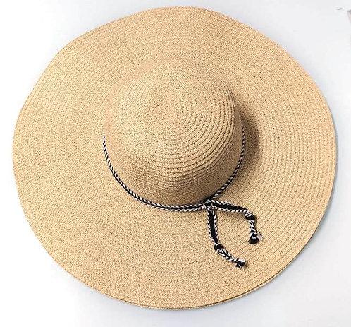 Chapéu de aba larga com corda trançada preta (Tamanhoúnico)