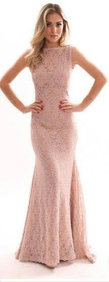 Vestido Longo Rendado rosê (P)