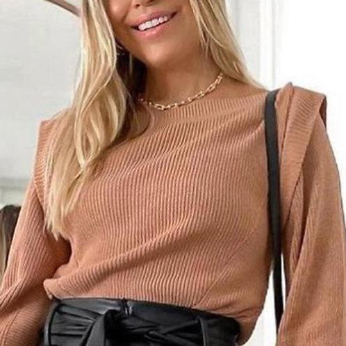 Blusa tricô modal pala no ombro (M)