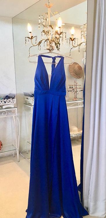 Vestido azul cetim frente única fenda (40)