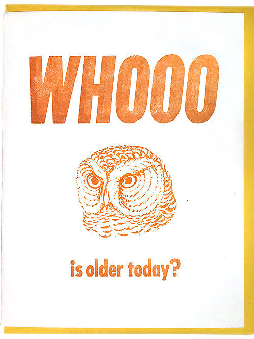Whooo Is Older Today? Card