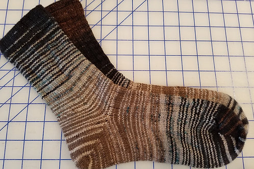 Black and tan wool blend socks, Size M