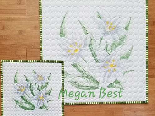 "Starflower Embroidered Quilt  19"" by 19"""