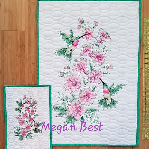 "Hummingbird Embroidered Quilt  20.5"" by 29.5"""