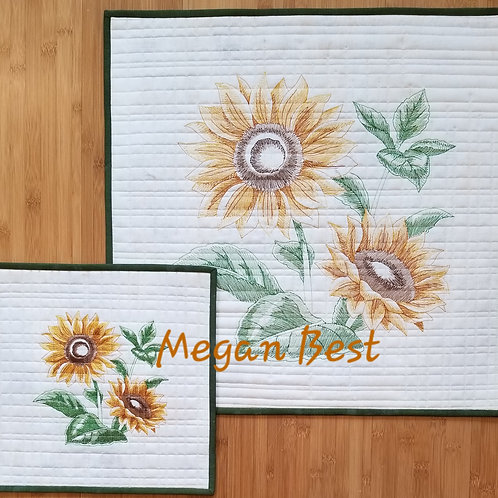 "Sunflower Embroidered Quilt  (small)12.5"" by 12.5"""