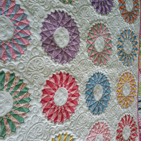 Vintage modern quilt, digital and frehand quilted.