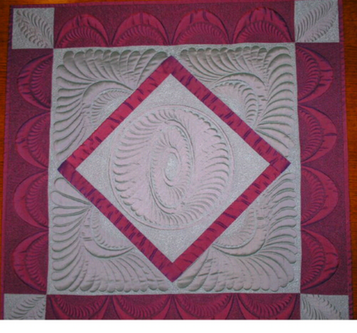 Silk quilt, freehand and Rulers.