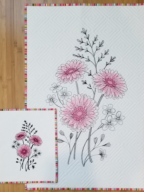 """Daisy Embroidered Quilt  (small)10.75"""" by 13"""""""