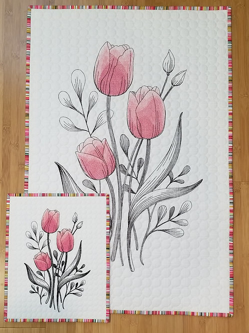 "Tulip Embroidered Quilt (small)10.75"" by 13"""