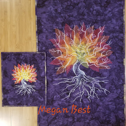 """Purple Tree Embroidered Quilt  (Small) 11.5"""" by 14"""""""