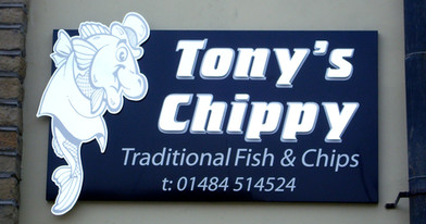Tony's Chippy: Tray sign with raised logo and lettering.