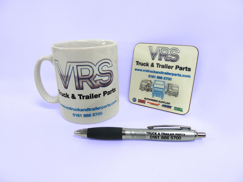 Graphics printed onto mug, coaster and pen.