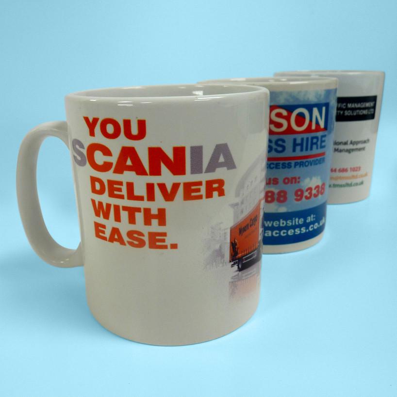Graphics printed onto mugs.